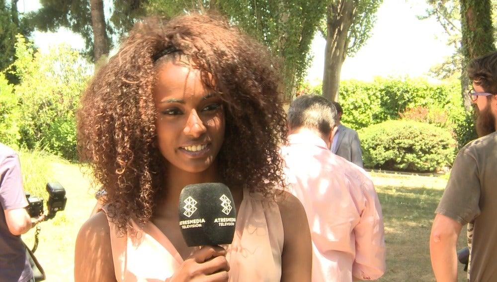 Yaima Ramos en la rueda de prensa de 'Mar de plástico'