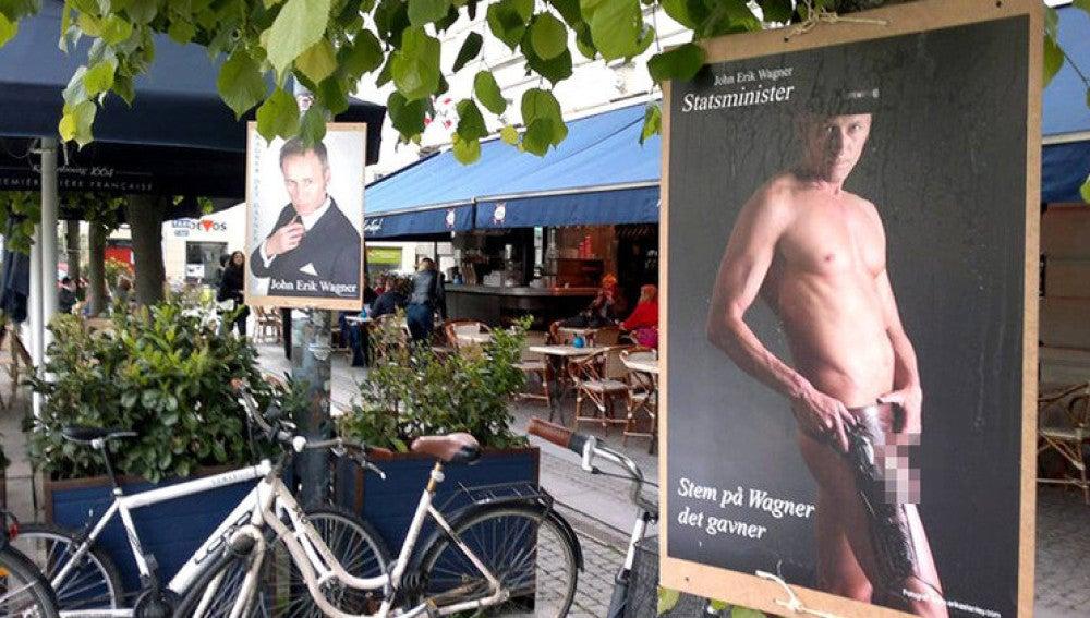 Un político danés aparece desnudo en los carteles de su campaña electoral
