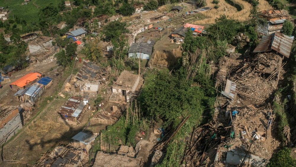 Zona devastada por el terremoto en Nepal