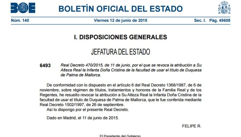 El BOE recoge la revocación del título de Duquesa de Palma a Doña Cristina