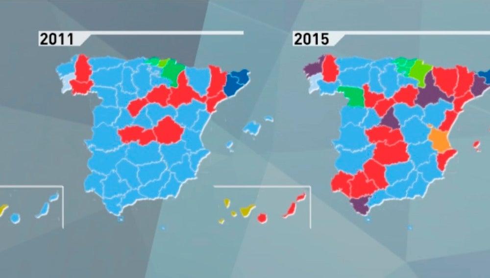 Así ha cambiado el mapa político local de 2011 a 2015
