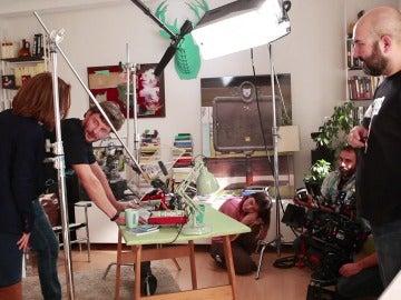 Megan Montaner y Eloy Azorín en el rodaje de 'Sin Identidad'