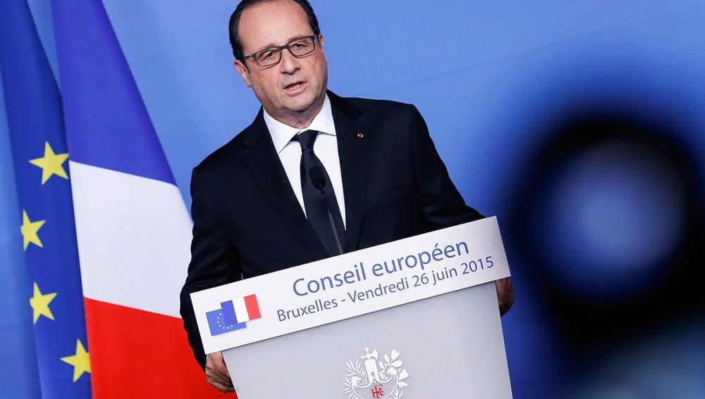 El presidente francés, François Hollande, comparece en rueda de prensa