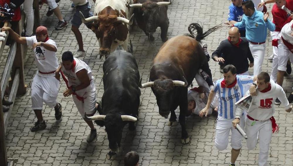 El segundo encierro de los sanfermines, con toros de El Tajo y La Reina