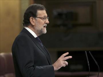 Mariano Rajoy durante su intervención en el pleno del Congreso