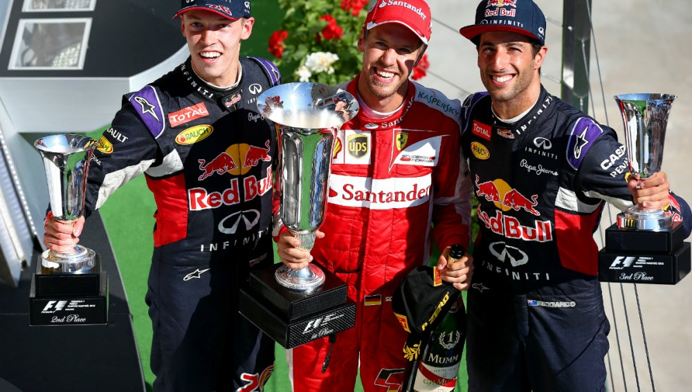 Kvyat, Vettel y Ricciardo, el podio de Hungría