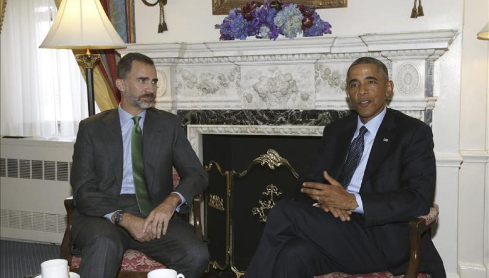 El Rey Felipe VI junto al presidente de EEUU, Barack Obama.