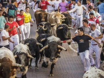 Imagen de uno de los encierros de San Fermín