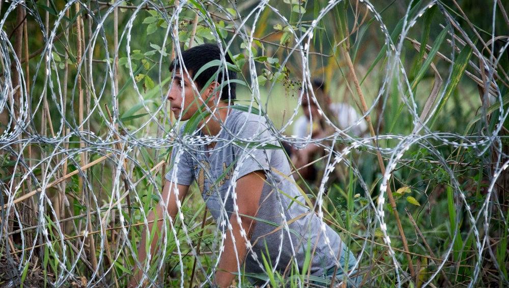 Alambrada en la frontera de Hungría