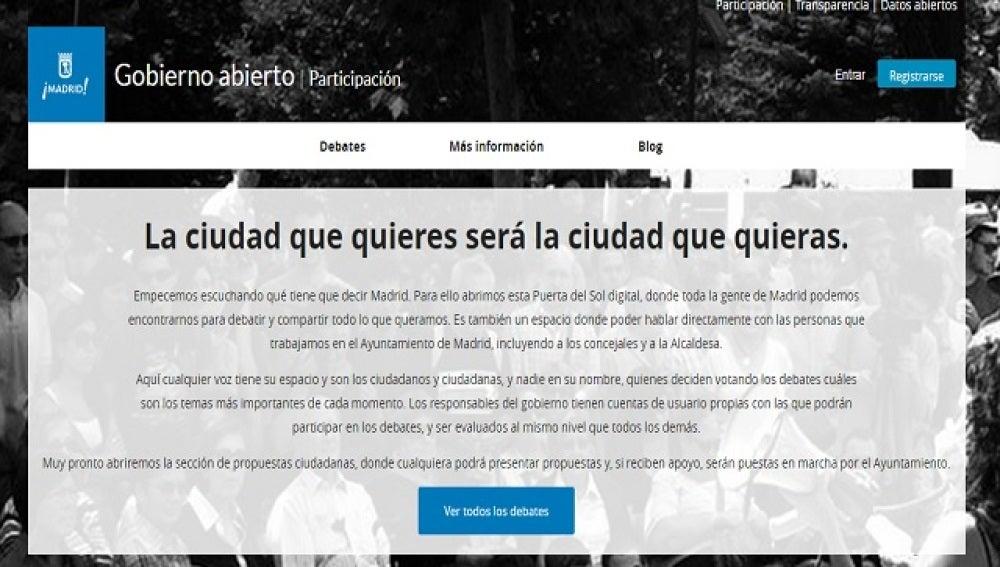Gobierno Abierto, la web de participación ciudadana de Ahora Madrid