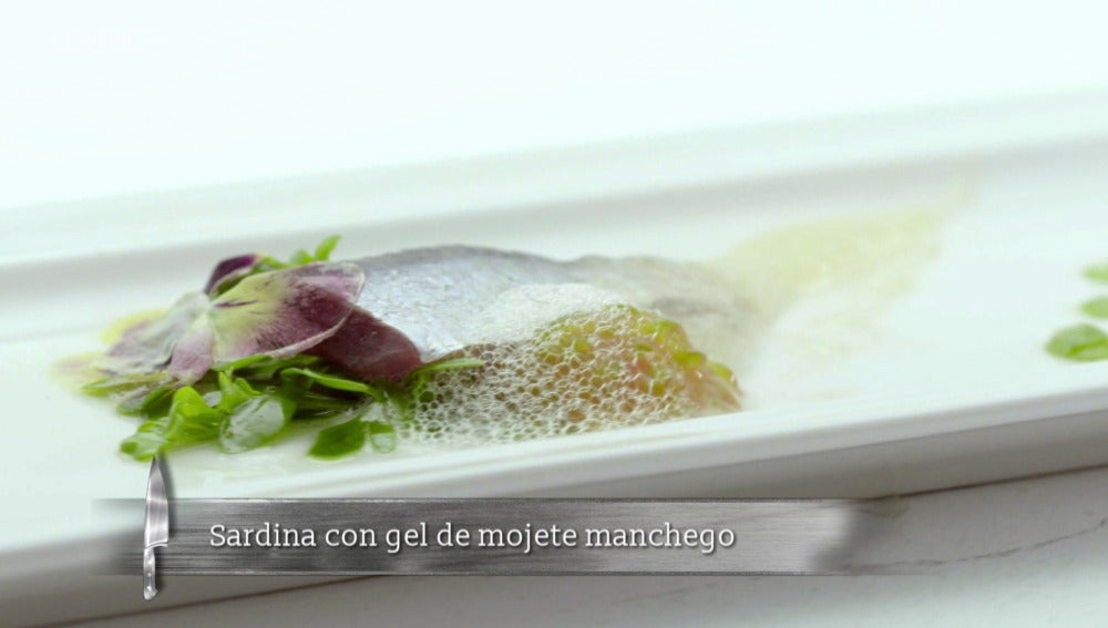 Sardina con gel de mojete manchego