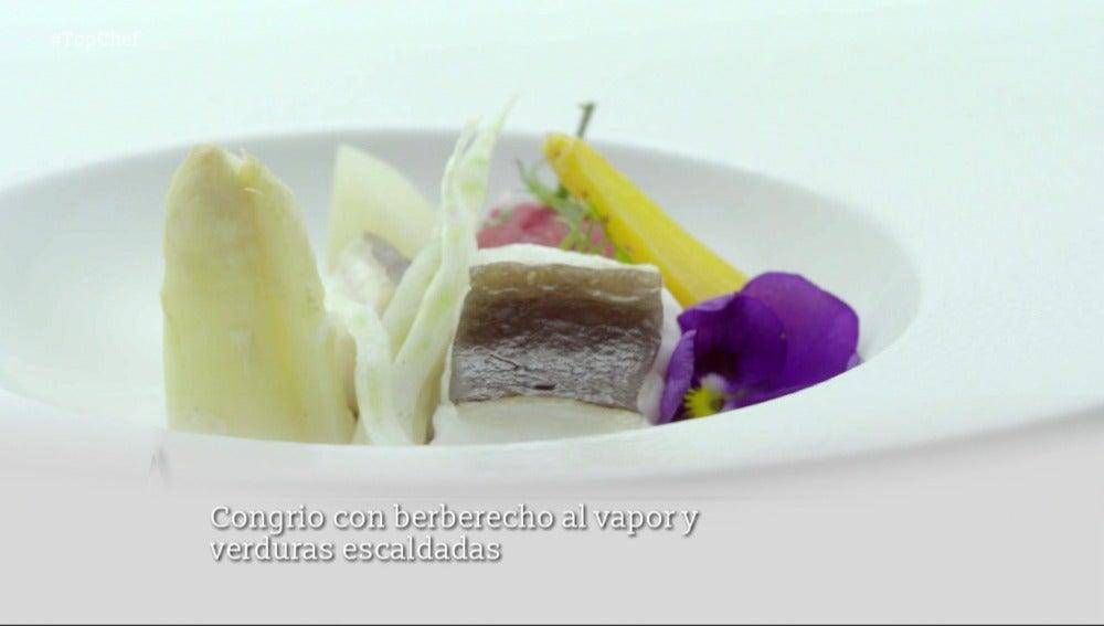 Congrio con berberecho al vapor y verduras escaldadas