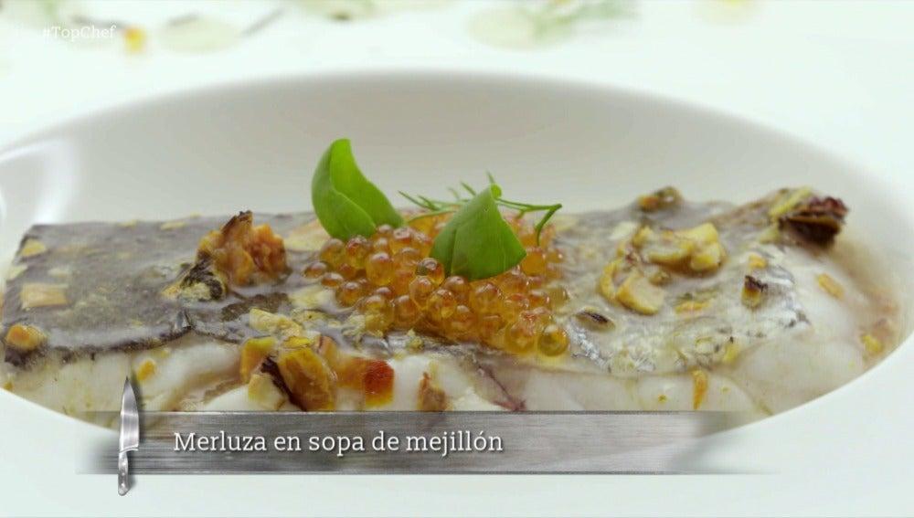 Merluza en sopa de mejillón