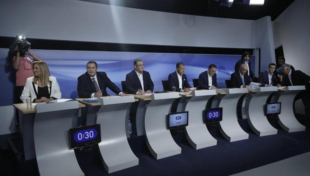 Debate televisado entre líderes griegos.
