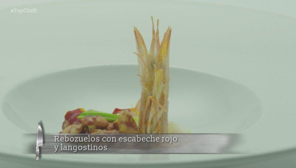 Rebozuelos_con_escabeche_rojo_y_langostinos