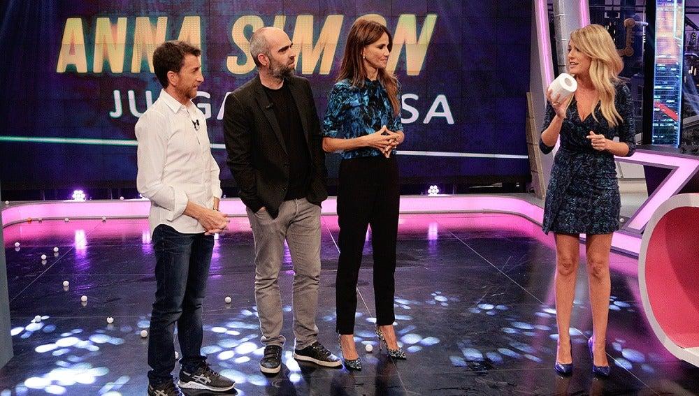 Pablo Motos, Luis Tosar, Goya Toledo y Anna Simon en El Hormiguero 3.0