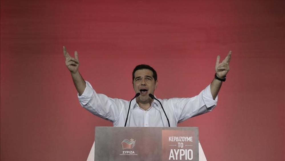 Tsipras durante un mítin