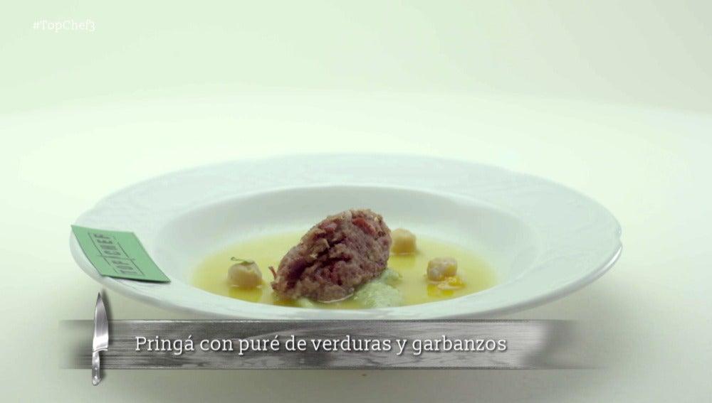 Pringá con puré de verduras y garbanzos