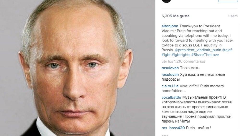 Instagram de Elton John agradeciendo la supuesta llamada de Putin