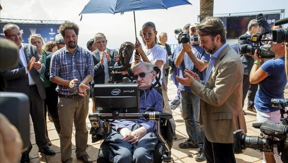 Stephen Hawking durante la presentación del Festival Starmus
