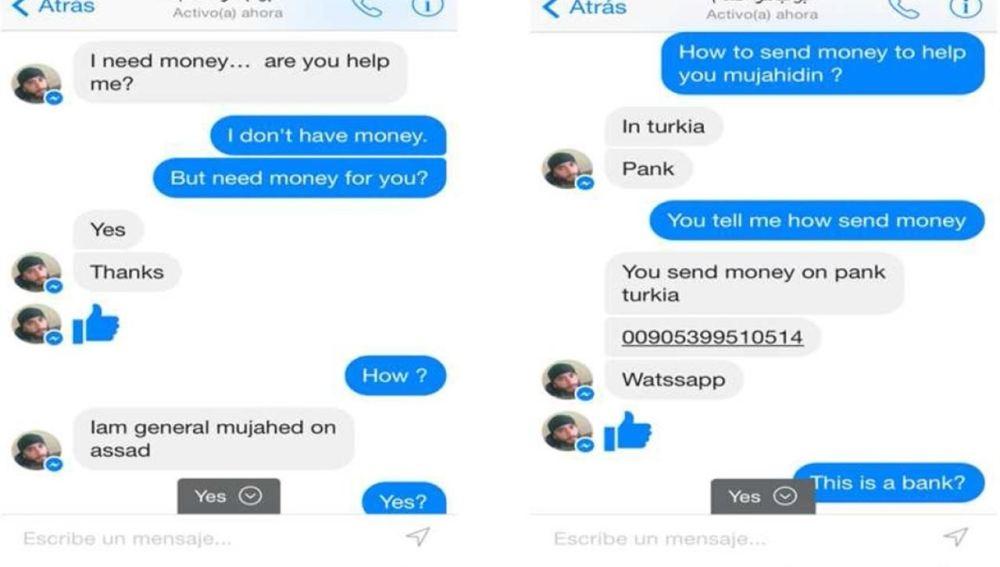 Conversación de Facebook en la que un yihadista pide dinero