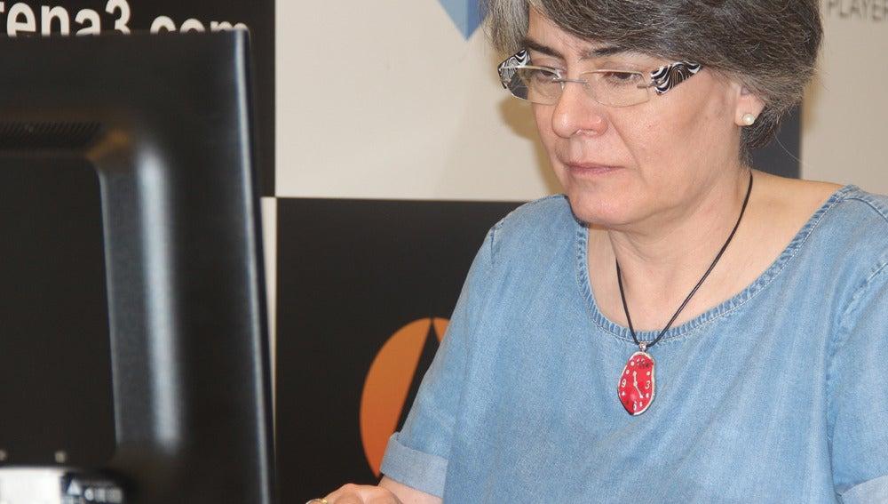 Matilde Asensi durante el encuentro digital en antena3.com