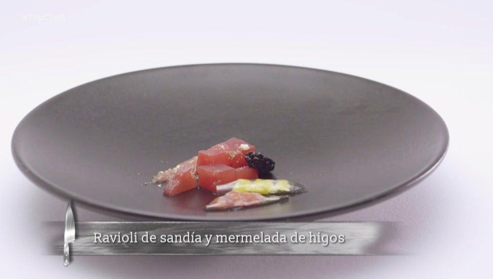 Ravioli de sandía y mermelada de higos