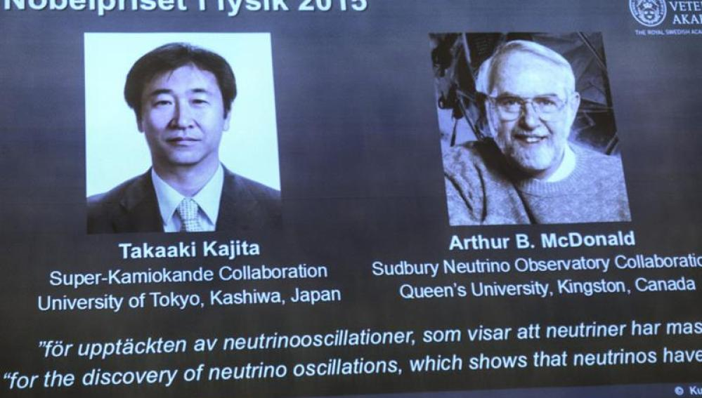 El japonés Takaaki Kajita y el canadiense Arthur B. McDonald.