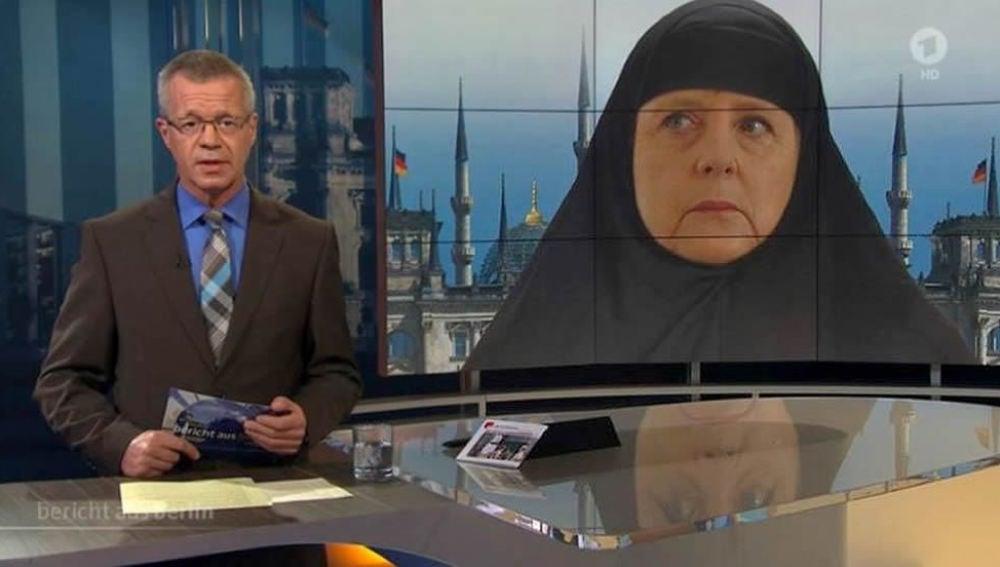Montaje de Angela Merkel en la televisión alemana