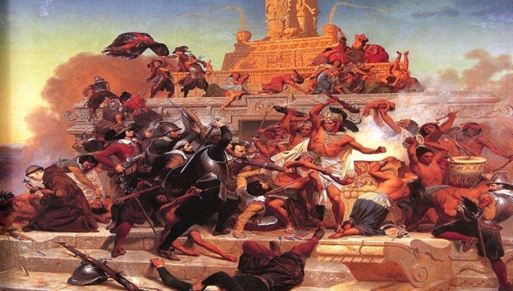 Invasión de Teocalli por Hernán Cortés