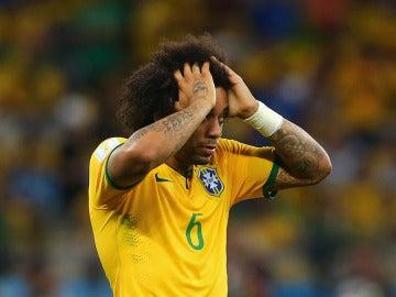 Marcelo, durante un partido con Brasil