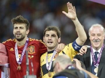Piqué, Casillas y Del Bosque