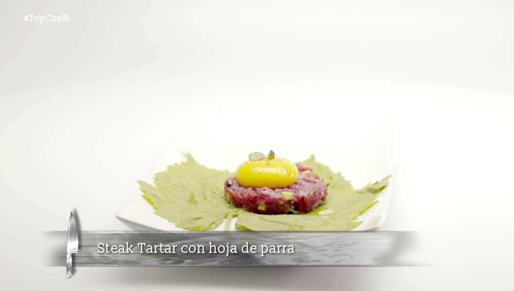 Steak tartar con hoja de parra