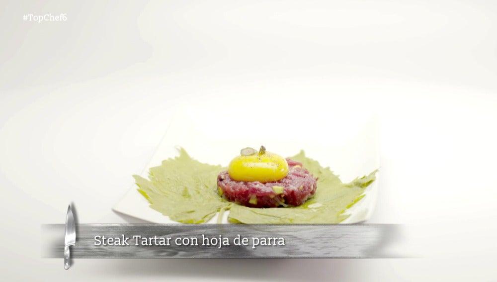 Steak tartar con hoja de parra