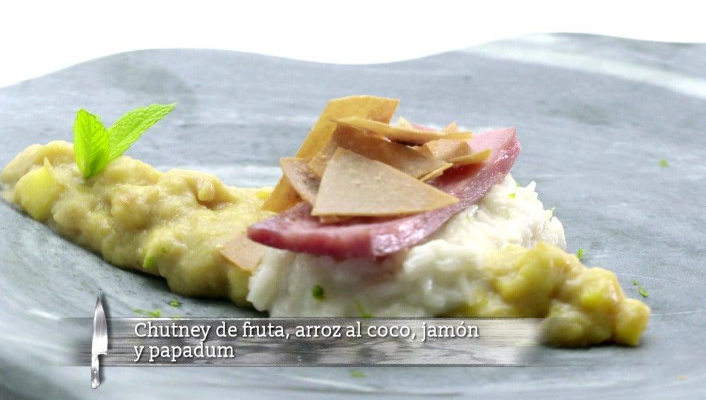 Arroz de coco, Chutney y jamón cocido