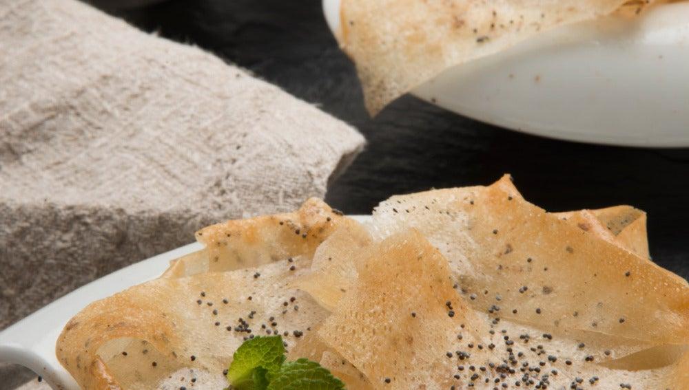 Bricks de crema pastelera y frutos secos