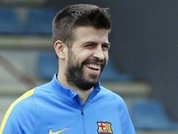 Piqué, en el entrenamiento del Barcelona