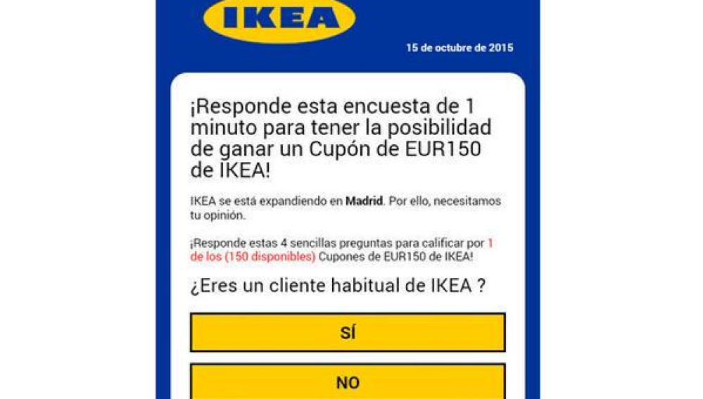 Timo que simula que Ikea dará 150 euros a quién dé sus datos