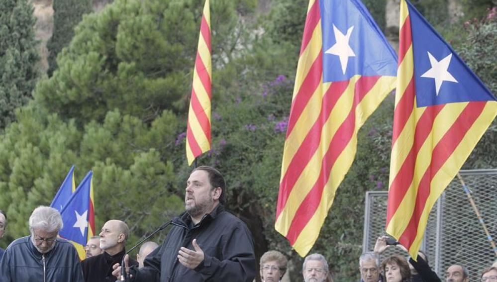 Oriol Junqueras en la ofrenda floral al expresidente de la Generalitat Lluis Companys.