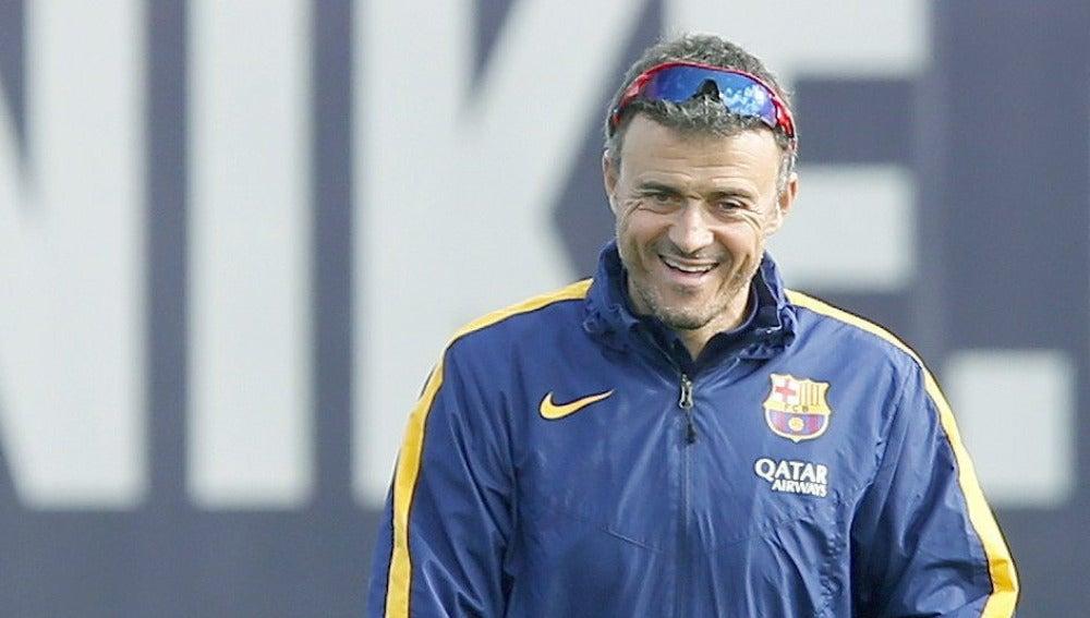Luis Enrique durante el entrenamiento del Barça