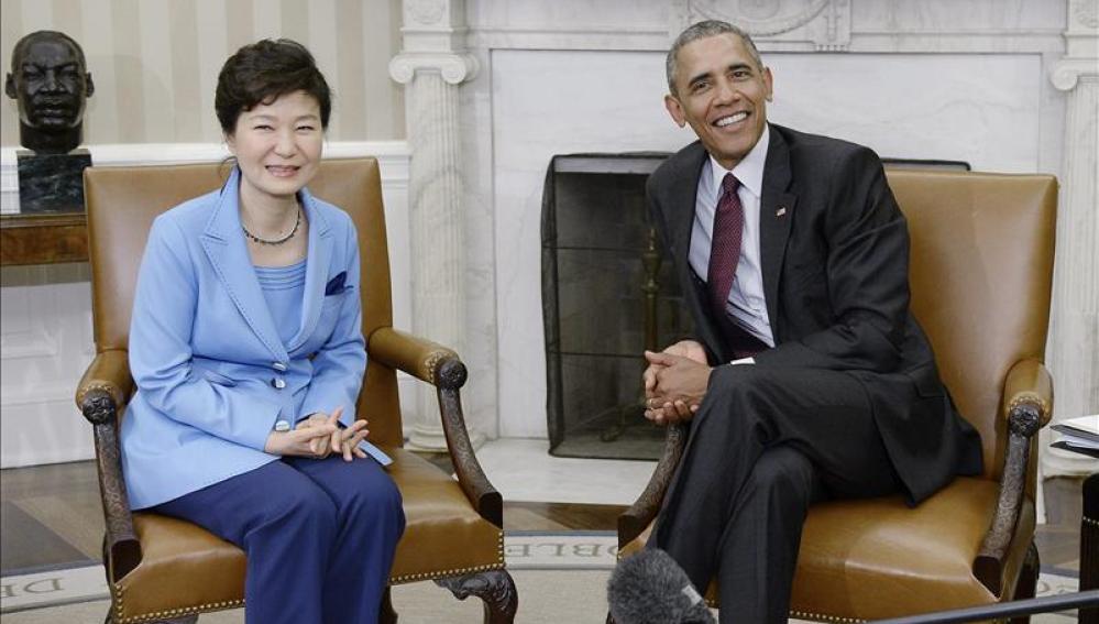 Barack Obama y su homóloga de Corea del Sur, Park Geun-hye