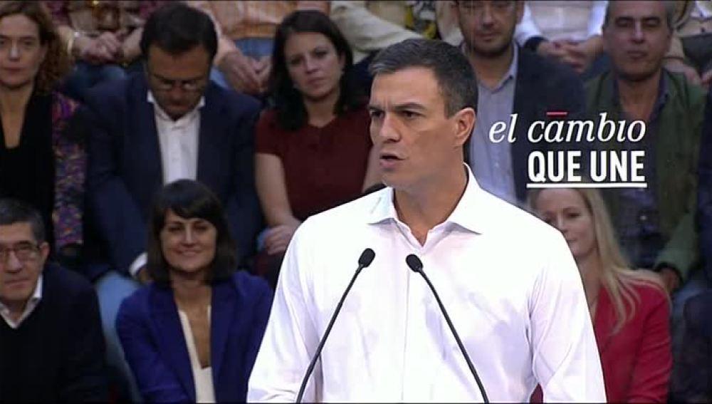 Pedro Sánchez durante la presentación de las listas del PSOE