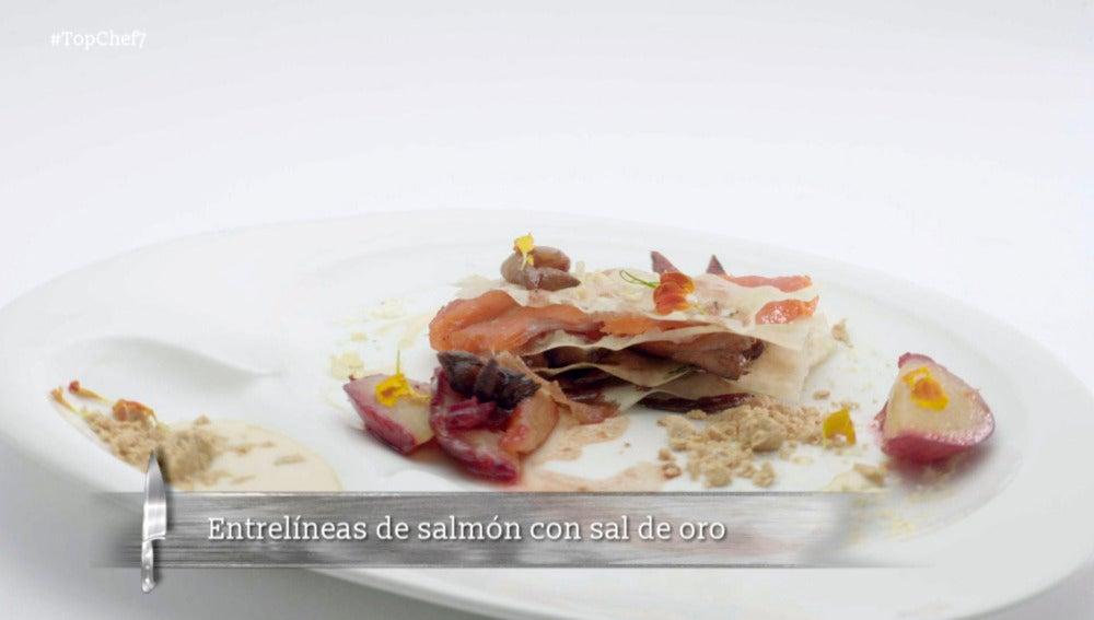 Entrelíneas de salmón con sal de oro