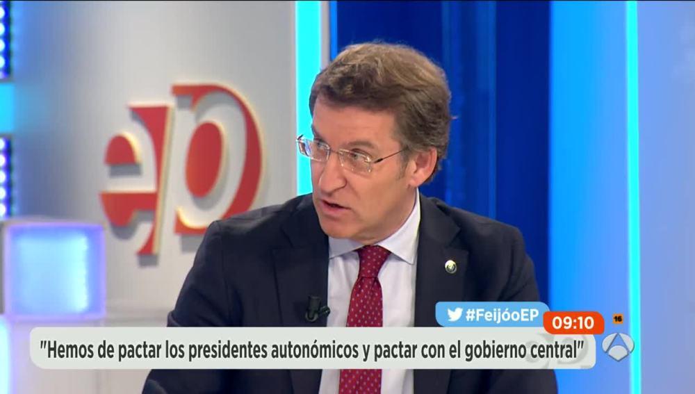 Alberto Núñez Feijóo, presidente de Galicia, durante una entrevista en Espejo Público