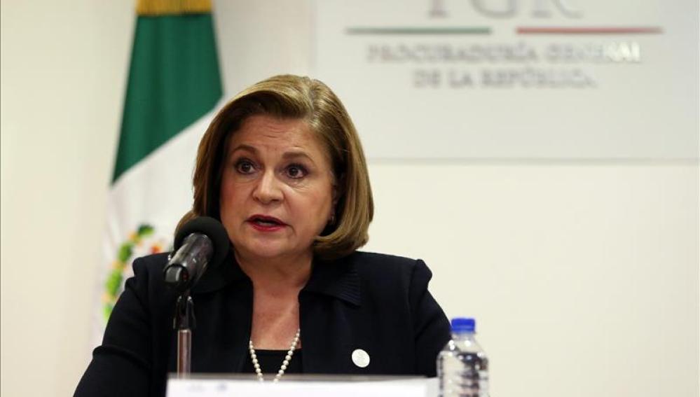 La fiscal mexicana, Arely Gómez, en la rueda de prensa
