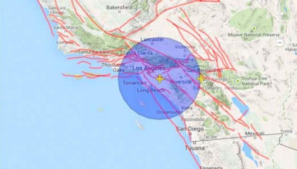 Zona de California donde se prevé un gran terremoto