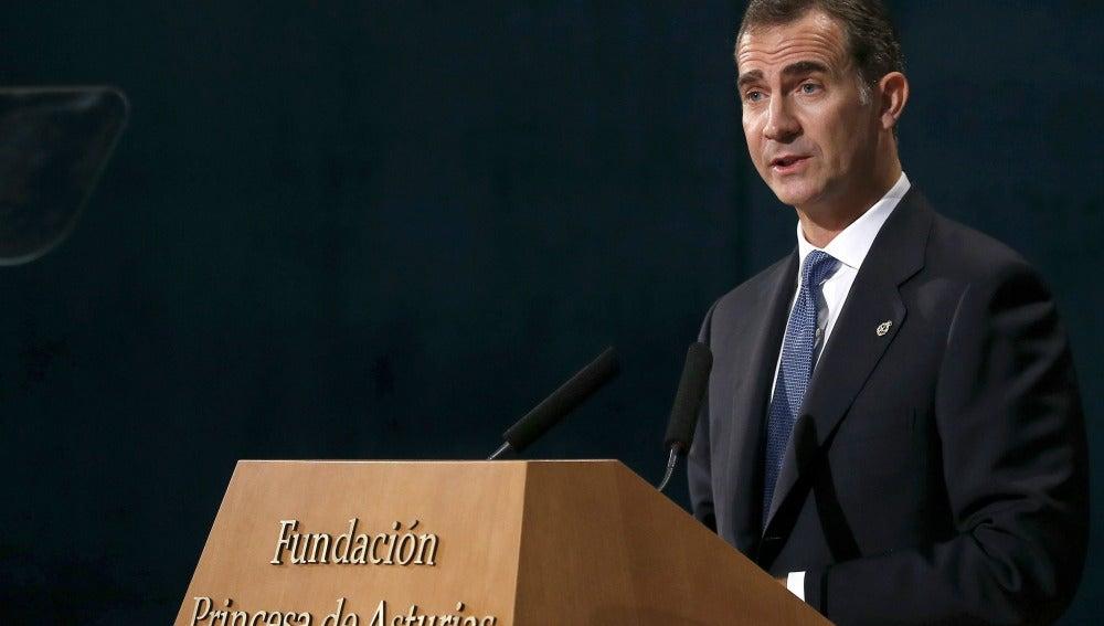 El Rey Felipe VI, durante su discurso