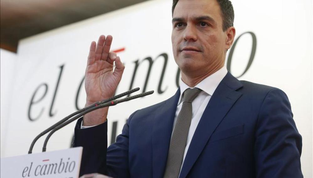 El candidato de los socialistas a la Monlcoa, Pedro Sánchez