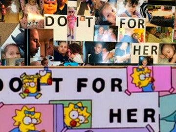 Un hombre recrea el cartel de Homer Simpson que reza 'hazlo por ella'