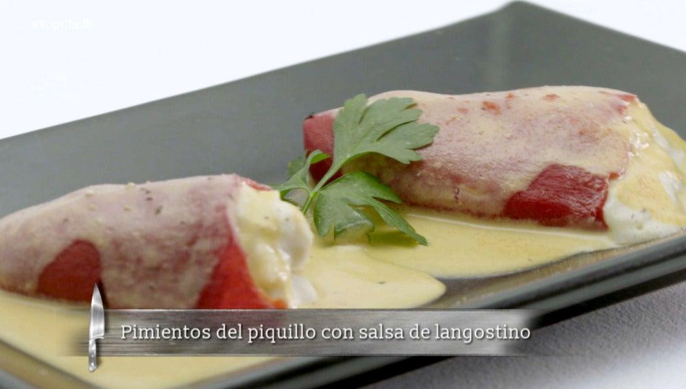 Pimientos del piquillo con salsa de langostino